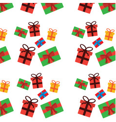 christmas wrapped gift boxes riibon decoration vector image