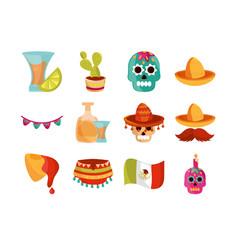 cinco de mayo decoration event mexican icons set vector image