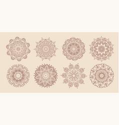 circular vintage mandala classic set eight vector image