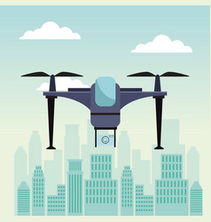 City landscape scene with modern drone with two vector