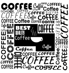 Coffee cup with letters on chalkboard vector image