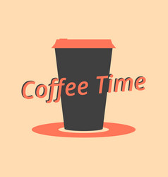 coffee time coffee cup black and red color vector image