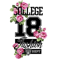 College fashion whit roses vector image