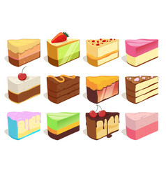 Cream cake slices pieces set vector