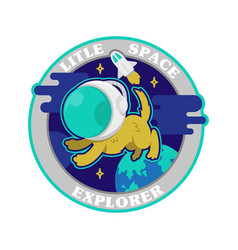 cute dog in space suit in space print vector image