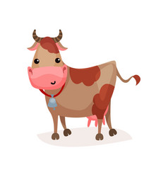 Cute funny spotted cow with bell on its neck vector