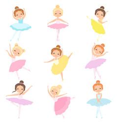 Cute little ballerinas dancing set lovely girls vector