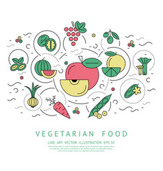 Digital green red vegetable vector
