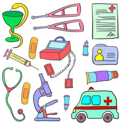 Doodle of medical object colorful vector