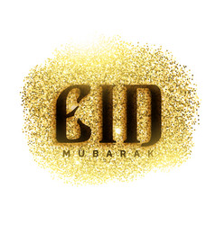 eid mubarak greeting card with golden sparkle vector image