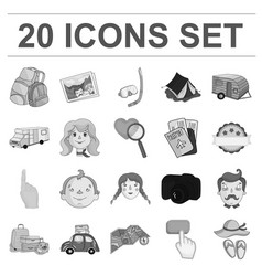 Family holiday monochrome icons in set collection vector