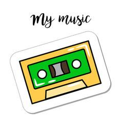 fashion patch element retro cassette vector image