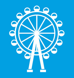 ferris wheel icon white vector image