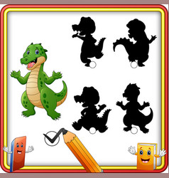 find the correct shadow funny crocodile standing vector image