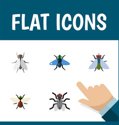 Flat icon buzz set of gnat fly dung and other vector