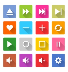 Flat media icon 16 set square web button vector image