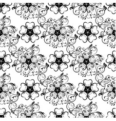 Flowers seamless background black and white vector