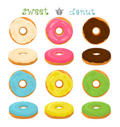 For glazed sweet donut vector