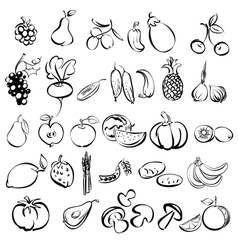 fruits and vegetables icon set sketch vector image