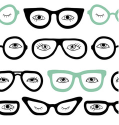 glasses and eyes seamless pattern vector image
