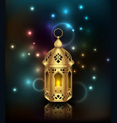 Glowing background with lantern arabian fanoos vector