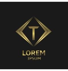 Golden t letter vector