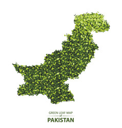 Green leaf map of pakistan of a vector