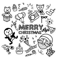 hand drawn set happy new year and merry christmas vector image