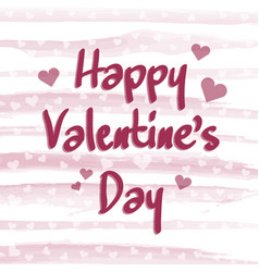 happy valentines day with pink watercolor lines vector image