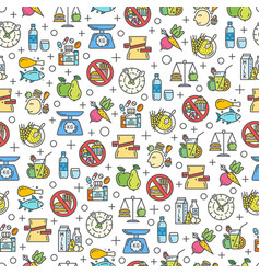 Healthy diet icons seamless pattern vector
