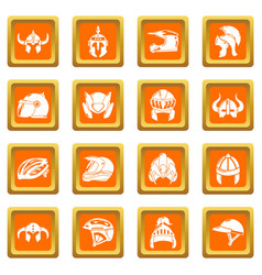 helmet icons set orange square vector image