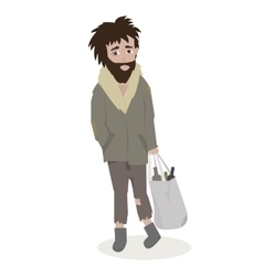 Homeless Bearded Man in dirty rags vector image