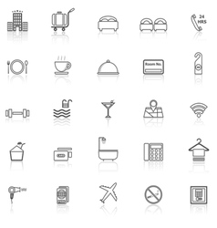 Hotel line icons with reflect on white vector image