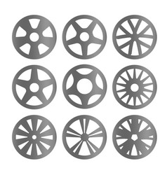Isolated black and white color alloy wheels logo vector