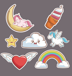 Kawaii cloud heart wings unicorn ice cream moon vector