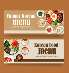 Korean food banner design with bibimbap egg bowl vector