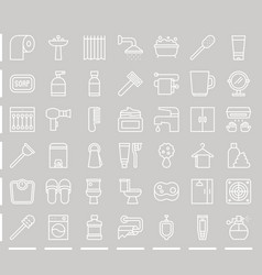 Line bathroom icon sets vector