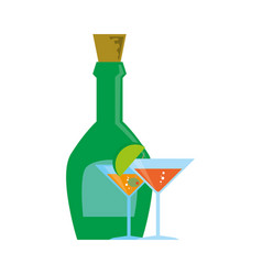 Liquor bottle with cork and cocktails vector