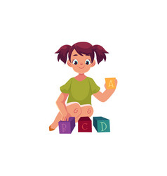 Little girl playing with toy alphabet abc blocks vector