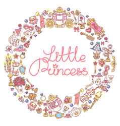 Little princess icons frame vector