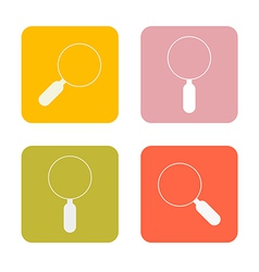Magnifying Glasses Flat Design Square Icons Set vector image