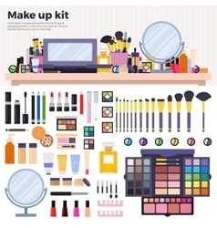 Make up kit on the table vector