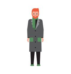 Man wearing grey coat poster vector