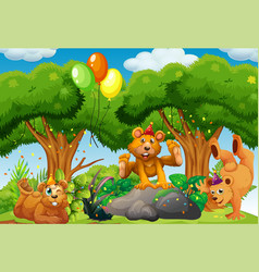 Many bears in party theme in nature forest vector