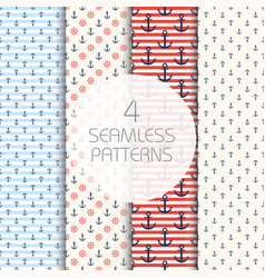 marine pattern set four navy seamless patterns vector image