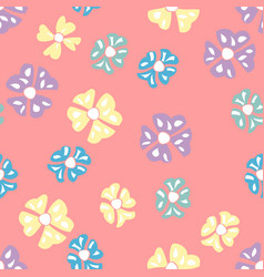 mini scattered multicolor flowers on pink vector image