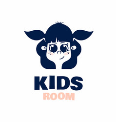 modern professional logo kids room in blue theme vector image