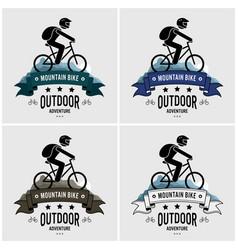mountain biking logo design artwork cyclist vector image