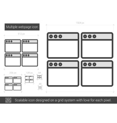 Multiple webpage line icon vector