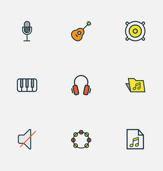 music icons colored line set with soundtrack off vector image
